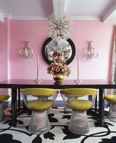 retro; yellow; pink; black lacquer