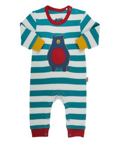 Loving this Teal & Red Stripe Bear Organic Playsuit - Infant & Toddler on #zulily! #zulilyfinds