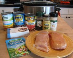2chicken breasts, still frozen 1 can Rotel tomatoes 1 can corn kernels, do not drain 1 can black beans, drained and rinsed 1 pkg. Ranch dressing mix 1 T cumin 1 t chili powder 1 t onion powder 1 8-oz pkg. cream cheese _________ Put the chicken in the crock pot. Top with the tomatoes, …