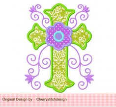 Flowers Cross 02 -Cross applique-4x4 5x7 6x10-Machine Embroidery Applique Design by CherryStitchDesign on Etsy (null)