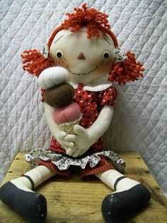 Primitive Cute Raggedy Ann type doll in red by yellowsweetpotato, $34.95