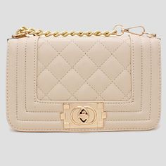 Beige Quilted Square Leather Fashion Bag 226040