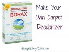 DIY Carpet Deodorizer    Combine ingredients and store in air tight container.    1 cup Borax    1 cup baking soda    10 drops essential oils    Sprinkle on carpet before vacuuming when they need a little smell pick me up.