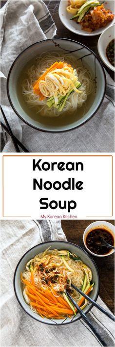 all recipes comfort food: How to Make Korean Noodle Soup - Janchi Guksu Korean Dishes, Korean Food, Asian Recipes, Healthy Recipes, Indonesian Recipes, Korean Soup Recipes, Asian Desserts, Orange Recipes, Korean Noodles