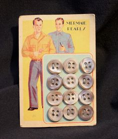 ButtonArtMuseum.com - Lot 12 of Vintage Buttons New on Card Mermaid Pearls Plastic Mother of Pearl