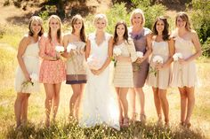missmatched bridesmaids - STUNNING featured San Luis Obispo, California barn wedding