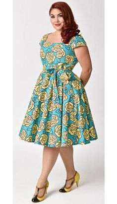 Plus Size Retro Style Aqua & Yellow Roses Cap Sleeve Anna Swing Dress at Diyanu Source by acelinehuff African Dresses Plus Size, African Dresses For Kids, Ankara Dress Styles, Latest African Fashion Dresses, African Dresses For Women, African Attire, African Print Dress Designs, African Print Clothing, African Print Fashion