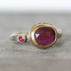 Ruby and Gold Ring Silver and 18k  Gold