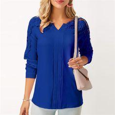 Lace Panel Long Sleeve Royal Blue Blouse, M, Lace Panel Long Sleeve Royal Blue Blouse, , Price: Royal Blue Blouse, Black Blouse, Blazers, Basic Tops, Blouse Styles, Blouse Designs, Lace Sleeves, Blouses For Women, Ladies Blouses