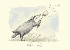 Make a Wish - A Two Bad Mice card by Fran Evans Badger Illustration, Children's Book Illustration, Anita Jeram, Honey Badger, Woodland Creatures, Watercolor Animals, Cute Drawings, Illustrators, Cute Pictures