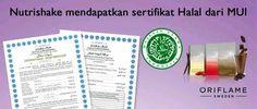 Nutrishake sudah ada sertifikat halalnya lho dari MUI...