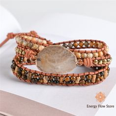 Rhinestone Leather Wrap Bracelet   Handmade Natural Rhinestone Leather Bracelet Made from mixed natural stones, natural rhinestone and leather. Each stone is unique. Clasp is made from alloy and stainless steel. Approximately 20 inches in length plus 3 adjustable closures to suit you.   FREE Global Shipping.  #gemstonejewelry; #crystals #gemstones Wrap Bracelets, Gemstone Bracelets, Handmade Bracelets, Gemstone Jewelry, Crystals And Gemstones, Bracelet Making, Natural Stones, Suit, Stainless Steel