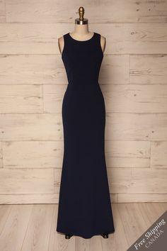 Zars Navy #lapetitegarconne #dress #promdress #prom #gala #galadress #maxidress #black #navy #formfitting