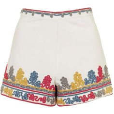 Embroidered Shorts by Glamorous ($47) ❤ liked on Polyvore featuring shorts, bottoms, short, pants, topshop shorts, highwaist shorts, high waisted shorts, high-rise shorts and high waisted cotton shorts