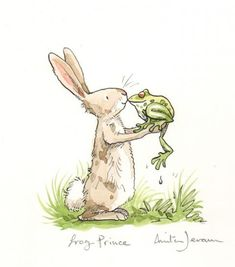 Children's Book Illustration 'frog prince' by Anita Jeram Arte Sharpie, Lapin Art, Anita Jeram, Arte Indie, Images Vintage, Rabbit Art, Rabbit Drawing, Bunny Art, Children's Book Illustration