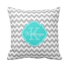 Turquoise Monogram Grey Chevron Pattern With Name Pillow http://www.zazzle.com/turquoise_monogram_grey_chevron_pattern_pillow-189720192691980259?rf=238835258815790439&tc=OSGSquarePillowsPin