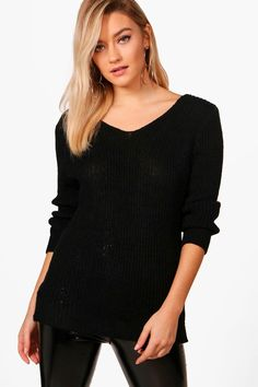 boohoo Emily Rib V-Neck Jumper Online Shopping Clothes, Latest Fashion Trends, Boohoo, Jumper, Tunic Tops, V Neck, Women, Style, Swag