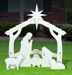 White Nativity Scene Display