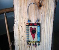 red heart miniature quilt mini folk art heart for by gonetoseed