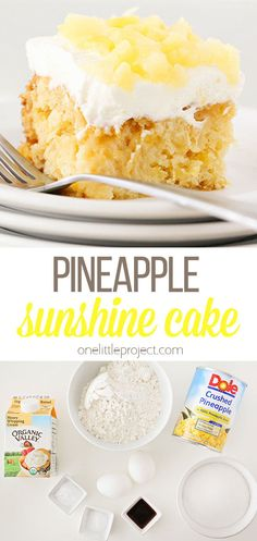 This light and fluffy pineapple sunshine cake tastes just like springtime! It's so easy to make and the perfect spring dessert! Yummy Treats, Sweet Treats, Yummy Food, Pineapple Sunshine Cake Recipe, Royal Recipe, Cake Recipes, Dessert Recipes, Spring Desserts, Cake Tasting