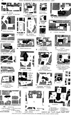 Vienna Camillo Sitte Study of medieval squares. He suggested creating civic spaces around a pinwheel arrangement of streets which became known as turbine squares