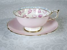 Pink Paragon Teacup and Saucer Fortune Teller -  Vintage Tea Leaf Reading Gypsy Tea Cup  -  Art Deco Divination Tasseomancy Cup by SwirlingOrange11 on Etsy https://www.etsy.com/listing/227386740/pink-paragon-teacup-and-saucer-fortune
