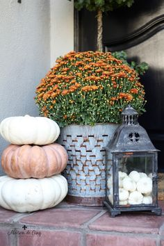 Home Tour Decorated in the Warm Colors of Fall! Gorgeous autumn decor in shades of green, copper, and faded rust--->#maisondecinq falldecor falldecorating falldecoratingideas autumndecor autumndecorating fallflowers pumpkins whitepumpkins farmhousestyle frenchfarmhouse frenchcountry countryfrench fallporch