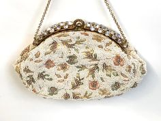 Vintage Purse Rhinestone Beaded Embroidered Jolles Wedding | Etsy Beaded Purses, Beaded Bags, Vintage Purses, Vintage Handbags, Vintage Bags, Vintage Gifts, Unique Vintage, Embroidered Flowers, Mother Gifts