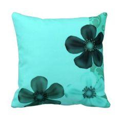 Retro Vintage Floral Teal Pillows