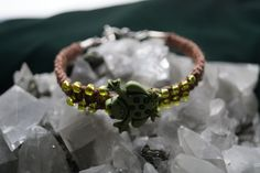 Brown Handcrafted Hemp Bracelet with Green Frog and glass bead and Metal Closure