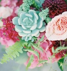 Pink and Green bouquet by The Floral Loft. Photo by Kara miller Photography-San Francisco