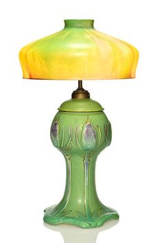 Oil Lamp; Rookwood Pottery, Fechheimer (Rose), Thistles, Glass Shade, Frosted Matte Finish, 25 inch.