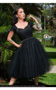 Laura Byrnes California- Lesley-Ann Dress in Black with Black Tulle | Pinup Girl Clothing IM IN LOVE