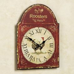 Rooster and Hen Wall Clock Rust