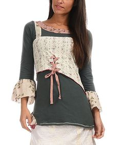 Another great find on #zulily! Khaki & Off-White Bell-Sleeve Tunic #zulilyfinds