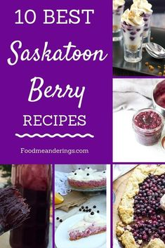The 10 best Saskatoon Berry Recipes, including pie, cookies, no bake cheesecake, Saskatoon Recipes, Saskatoon Berry Recipe, Berry Crumble, Berry Tart, Berry Cheesecake, No Bake Cheesecake, Healthy Dessert Recipes, Real Food Recipes, Delicious Deserts