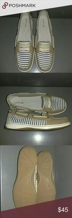 NIB Sperry Top Sides ❇Tan with navy and white stripes  ❇Never worn, still in box  ❇Size US 8.5  ✅Price Semi-Firm ❌No trades Sperry Top-Sider Shoes Flats & Loafers