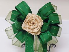 Handmade Kelly Green Gold Flower Pew Bow Olive by greentraderllc, $14.95