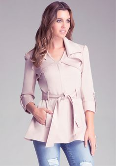 Bebe Isabelle Silk Trench Coat in Pink (nude) | Lyst