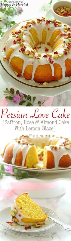 Persian love cake is a fragrant, rich and beautiful cake. This version has notes of saffron, rose, cardamom and almonds in the cake, a lemon glaze on top, and is decorated simply with pistachios and rose petals. A delicious celebration-worthy cake indeed!