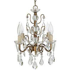 Amalfi Decor Madeleine Gold Crystal Chandelier, Mini Swag Plug-In Pendant 4 Light Ceiling Lighting Fixture - - Amazon.com
