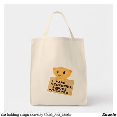 Cat holding a sign board tote bag Cute Cat Illustration, Lots Of Cats, Ginger Cats, Funny Cats, Cat Lovers, Reusable Tote Bags, Sign, Board, Funny Kitties