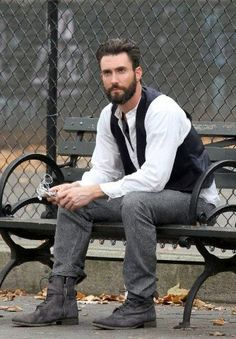 Adam Levine and his beard :) I greatly disliked him til I saw him with the beard...