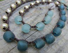 Eco friendly Asymmetric Necklace - Upcycled Crochet Artisan Jewelry - Upcycled & Beachy