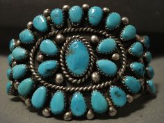 Chunky Dunky Vintage Navajo Old Natural Blue Turquoise Silver Bracelet