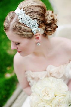 085 - BEST SELLER - Double Rhinestone Rose Headband- Crystal, Wedding, Bridal, Headpiece http://www.etsy.com/shop/UntamedPetals