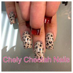 Chely Cheetah Nails. Acrylic nails. Cheetah nail art.