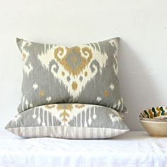 Gray and Yellow Ikat Cotton Pillow by jillbent on Etsy, $59.00