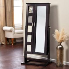 standing cheval mirror jewelry armoire
