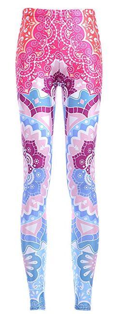 9923bf9563af5 YangYang Womens Plus Size Fashion Floral Printed Brushed Yoga Leggings Tight